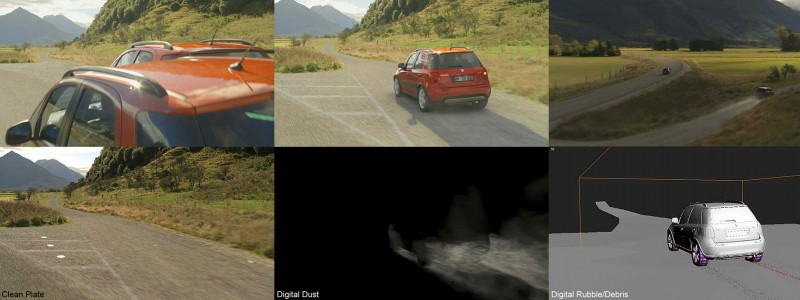 Dust and rubble simulation for Suzuki commercial